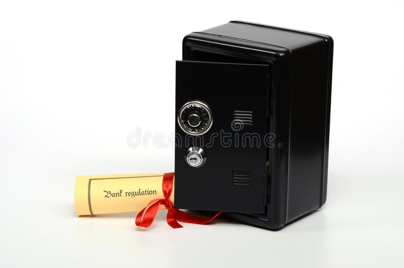 Bank regulation and steel safe royalty free stock photos