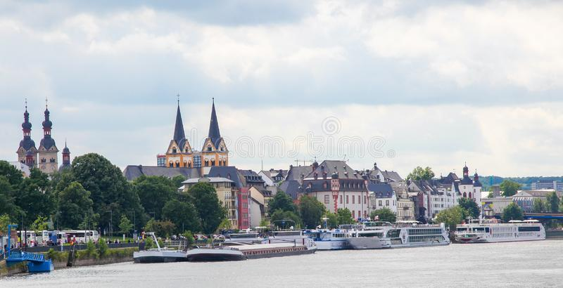 Bank of the Rhine in Koblenz, Germany stock image
