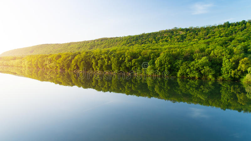 Bank of river with thick forest reflected in water royalty free stock photos