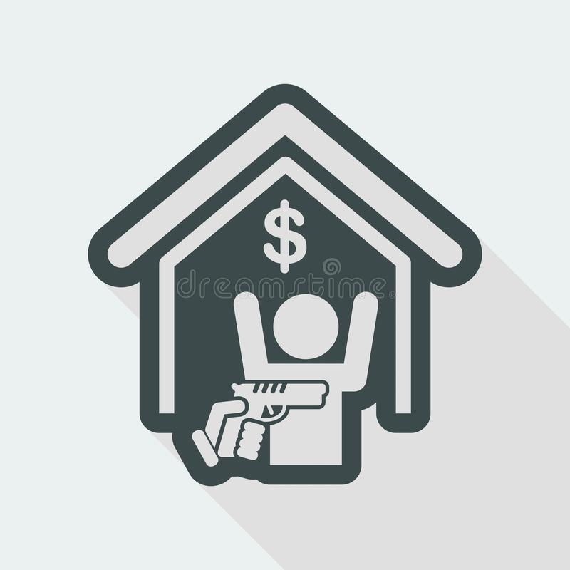 Bank robbery. Flat and isolated vector eps illustration icon with minimal design and long shadow royalty free illustration