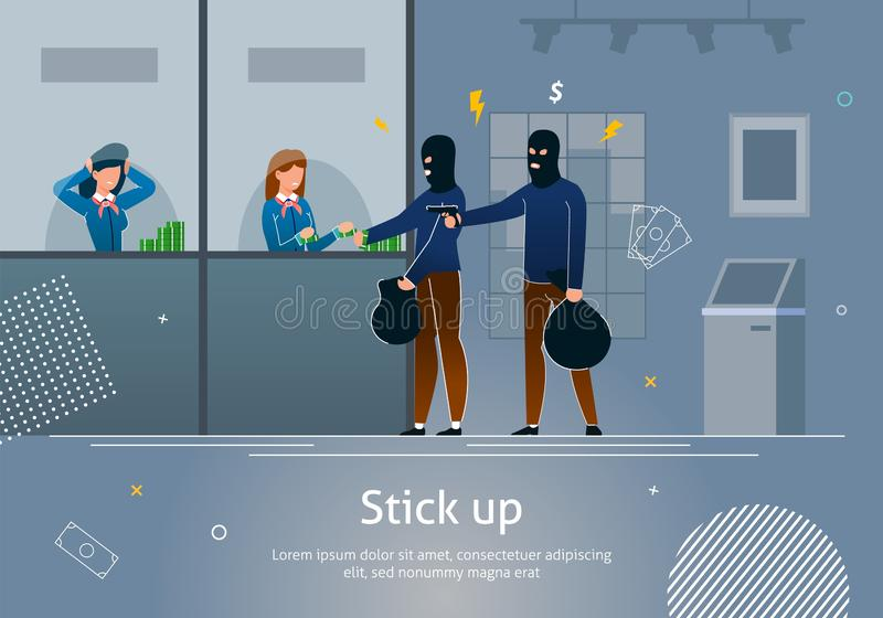 Bank Robbery by Masked Criminal, Girl Gives Money. royalty free illustration