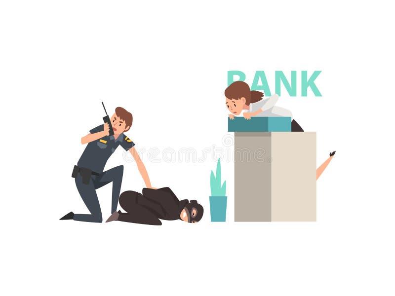 Bank Robbery, Police Man Caught Criminal, Police Officer Arrested Robber Vector Illustration stock illustration