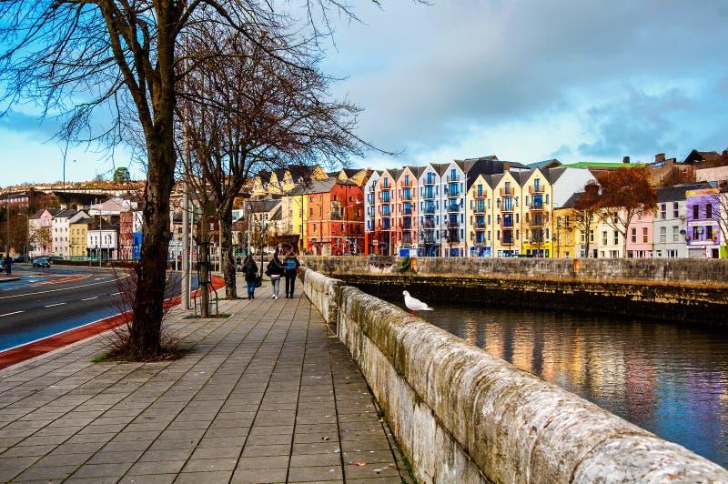 Bank rzeka Lee w korku, Irlandia obraz royalty free
