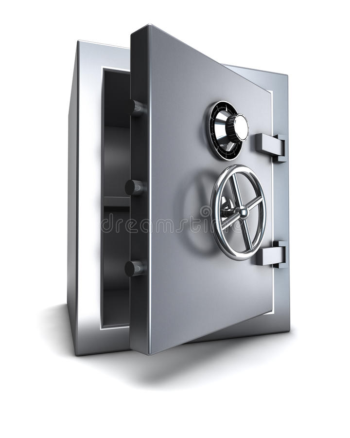 Bank safe. Steel bank bank safe open with clipping path vector illustration