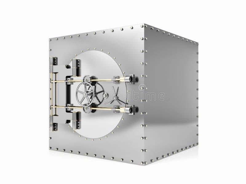 Bank safe deposit box and closed bank vault door, 3D Rendering vector illustration