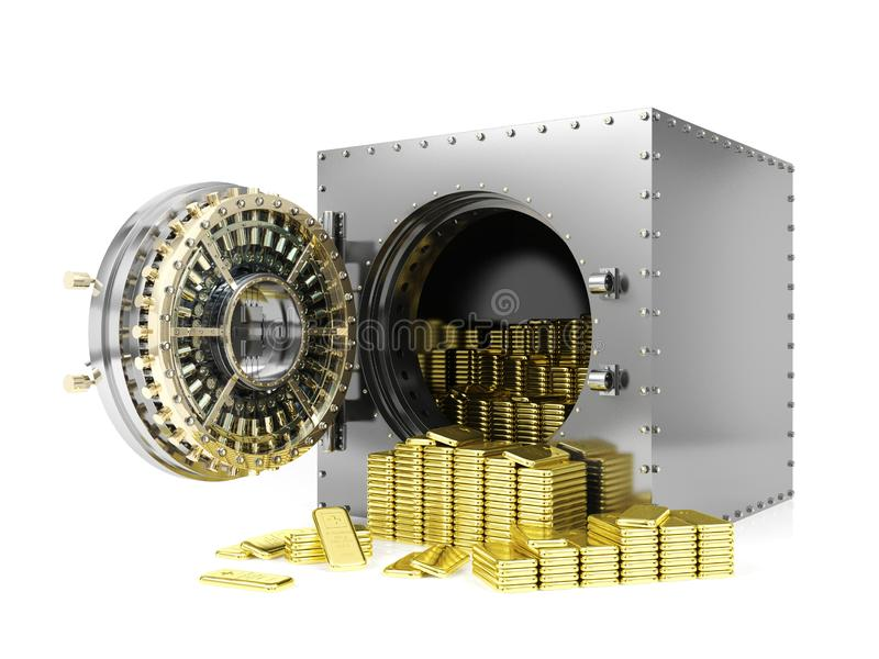 Bank safe deposit box and opened bank vault door revealing gold bars, 3D Rendering stock illustration