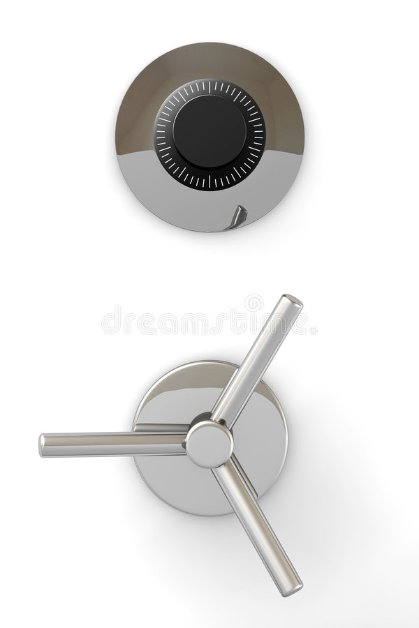 Bank Safe Door. Bank safe mechanism isolated over a white background