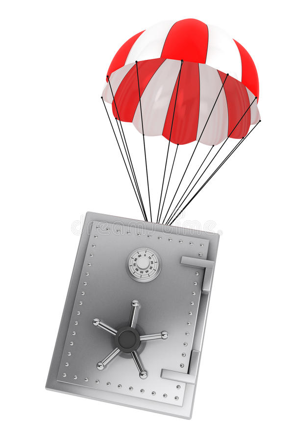 Bank Safe falling by Parachute royalty free illustration