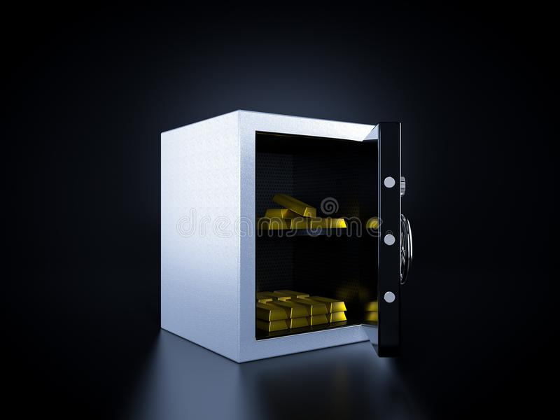 Bank safe with gold inside royalty free illustration