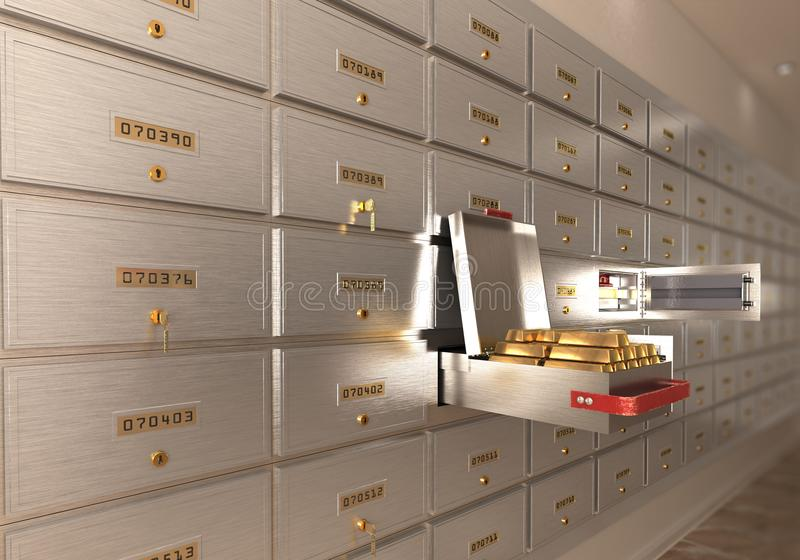 Bank safe open cell with gold isolated 3d royalty free illustration
