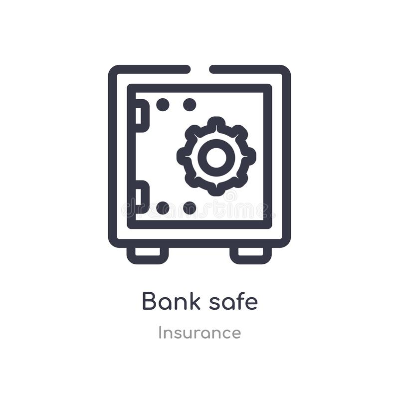 bank safe outline icon. isolated line vector illustration from insurance collection. editable thin stroke bank safe icon on white vector illustration