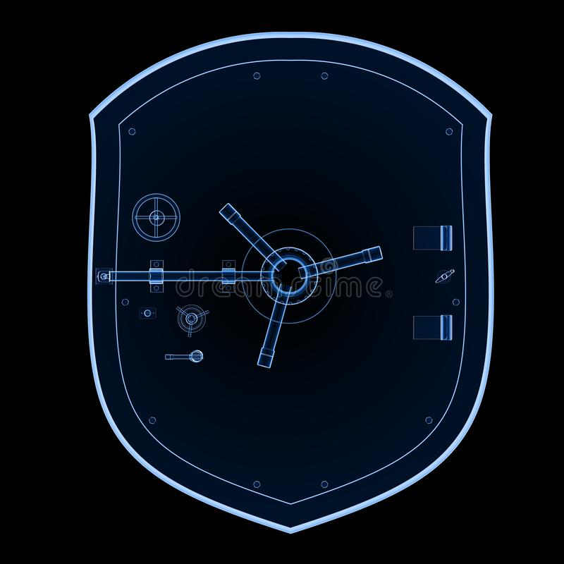 Bank safe or vault x-ray vector illustration