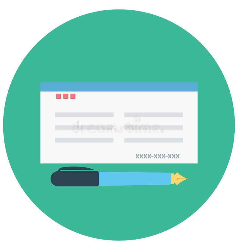 Bank-Scheck-Farbikone lokalisierte und Vektor, der leicht geändert werden oder redigieren kann lizenzfreie abbildung