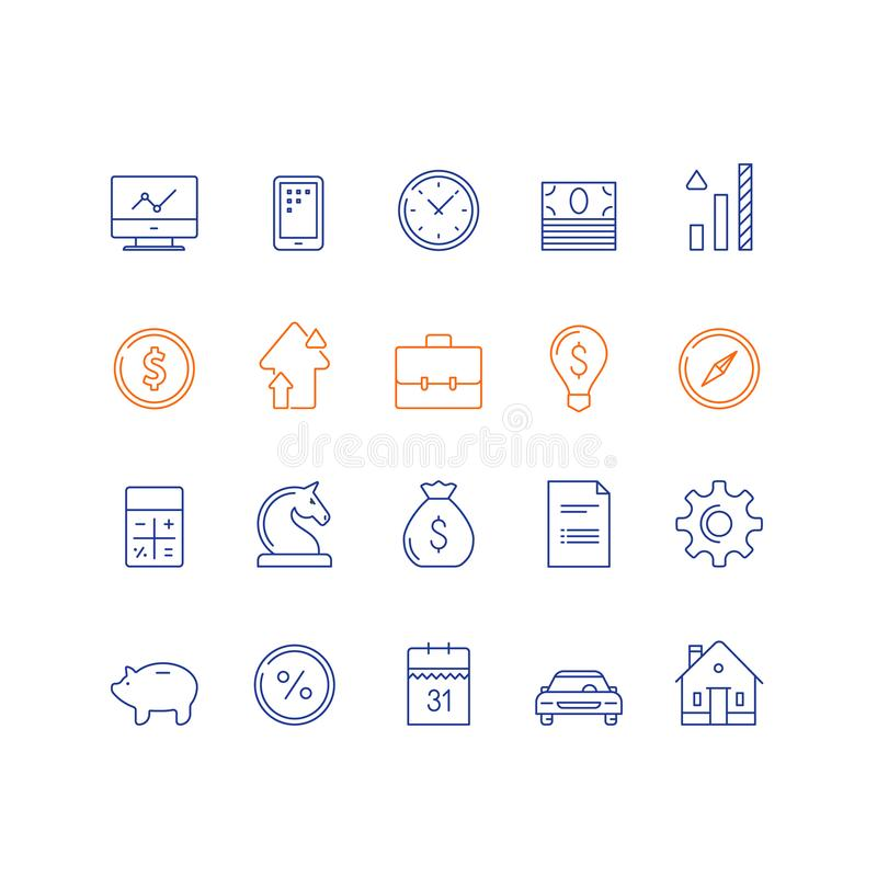 Bank service, financial item set, income growth, interest rate, car payment, expenses calculation, house mortgage, vector icon. Financial item set, bank service royalty free illustration