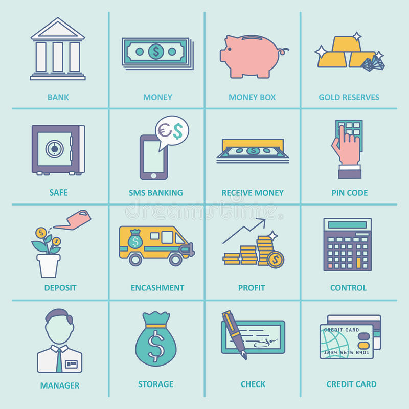 Bank Service Icons Flat Line. Bank service money control profit and growth flat line icons set isolated vector illustration stock illustration