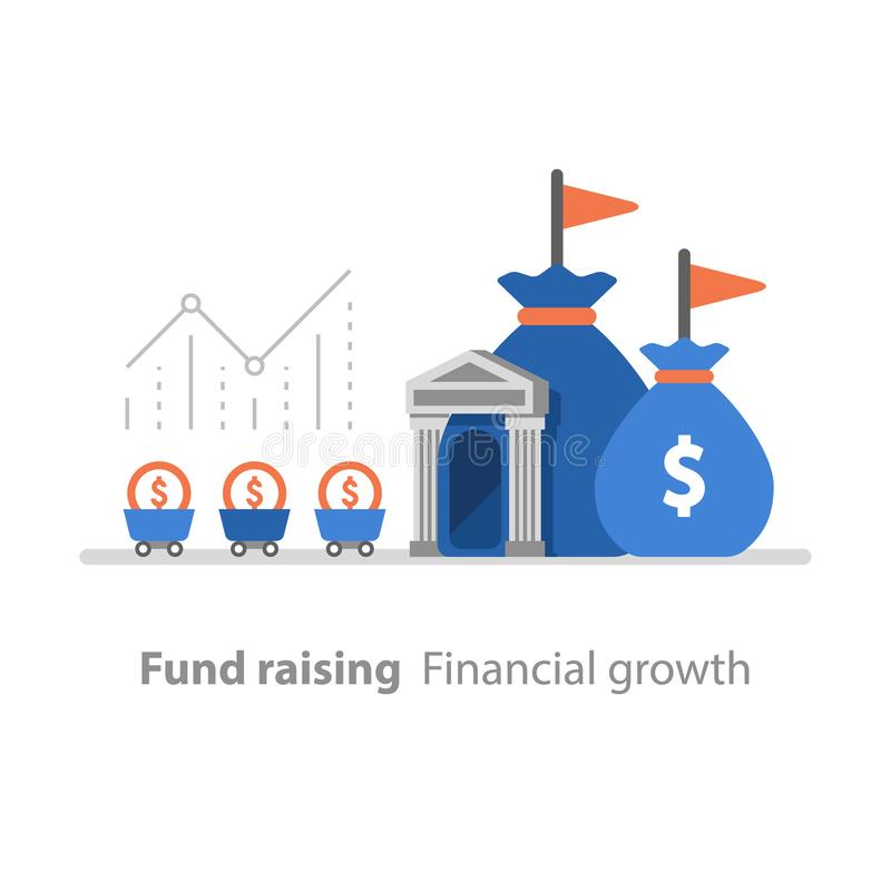 Bank services, fund raising, revenue increase, productivity graph, interest rate, pension savings account, return on investment. Fund raising, financial growth royalty free illustration