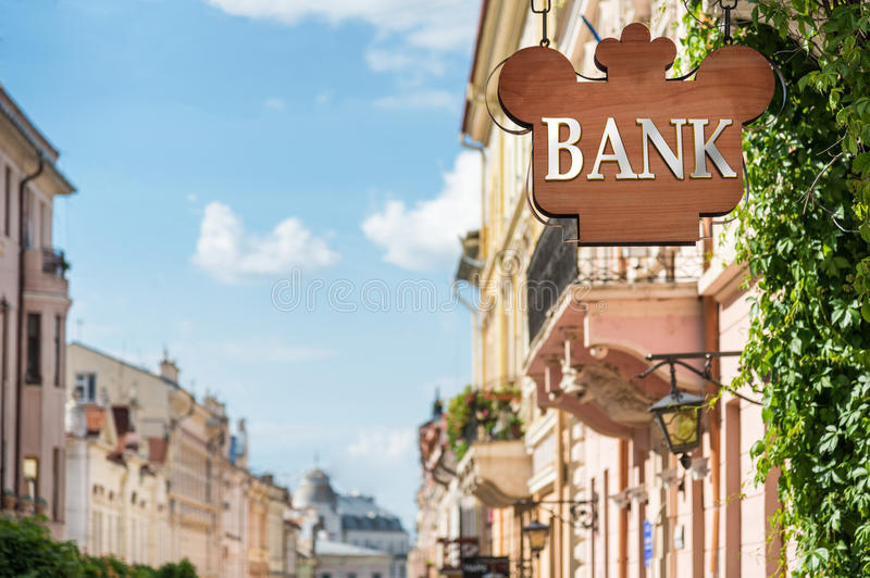 Bank sign on building. In city street royalty free stock image