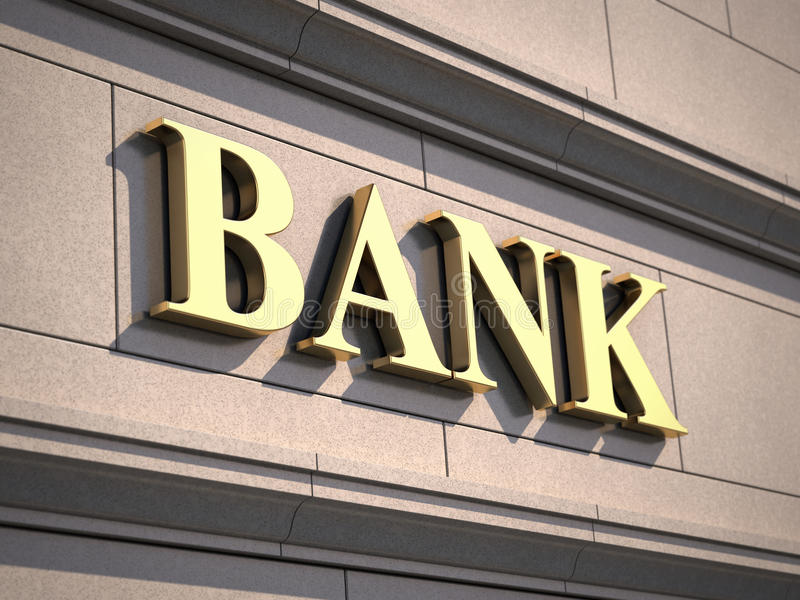 Bank sign on building royalty free illustration