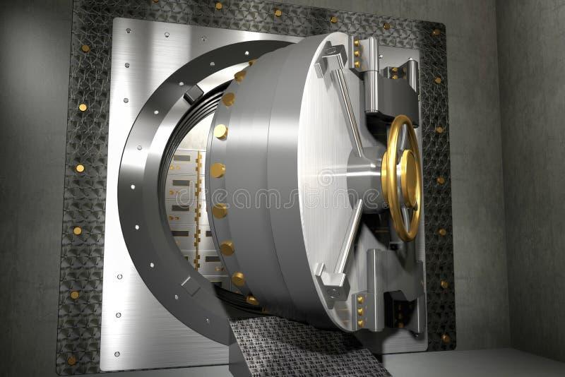 Bank storage vault safe door made of steel, open stock illustration