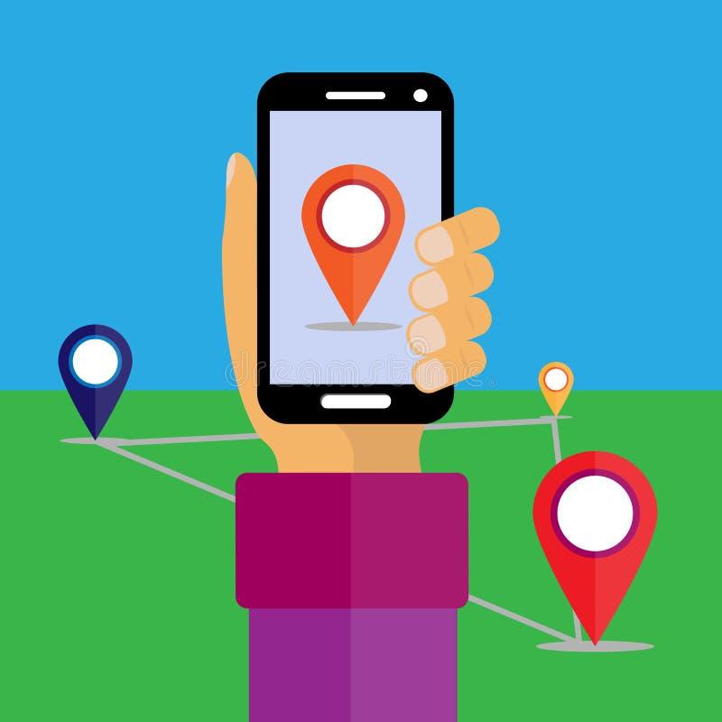 bank tła ręka trzymająca zauważy smartphone Na ekranie lokacji ikona ilustracja wektor