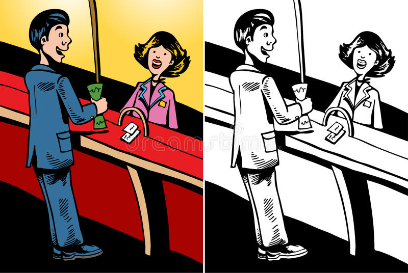 Bank Teller. Cartoon image of a customer talking to a bank teller - color and black/white versions stock illustration
