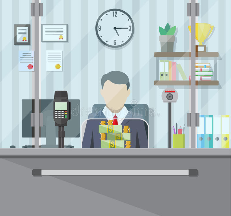 Bank teller behind the window. Bank teller behind window. Books, cup, plant, clocks, computer and keypad terminal. Stacks of dollars. Depositing money in bank vector illustration