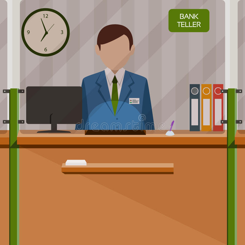 Bank teller behind window. Depositing money in bank account. People service and payment. Vector illustration in flat style stock illustration