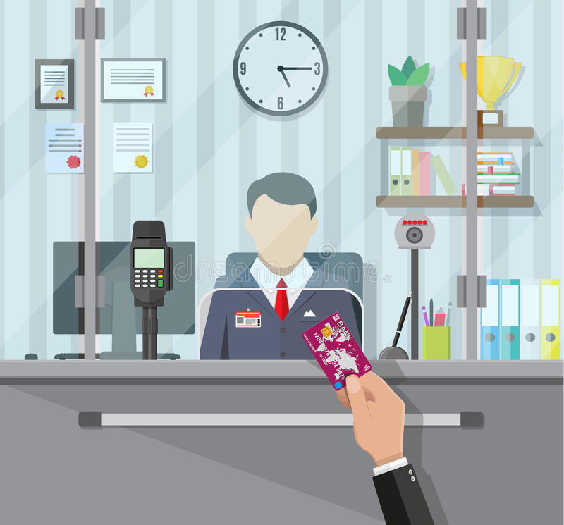 Bank teller behind the window. Bank teller behind window. Hand with bank card. Books, cup, plant, clocks, computer and keypad terminal. Depositing money in bank royalty free illustration