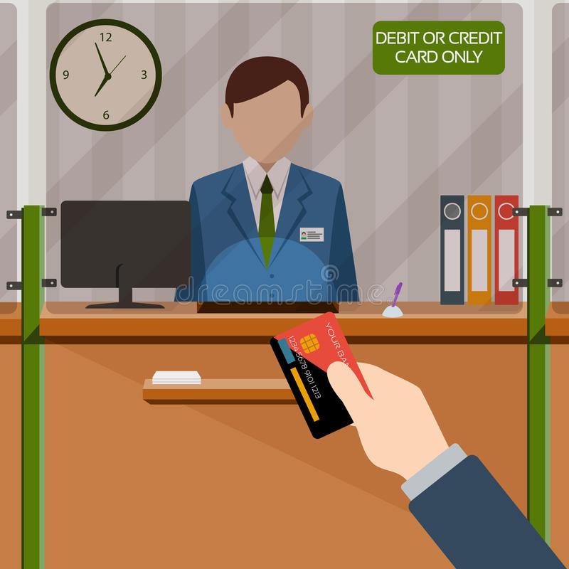 Bank teller behind window. Hand with card. Depositing money in bank account. Signboard Credit or Debit card payment only. People service and payment. Vector stock illustration