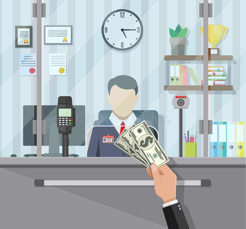 Bank teller behind the window. Bank teller behind window. Hand with cash. Books, cup, plant, clocks, computer and keypad terminal. Depositing money in bank royalty free illustration