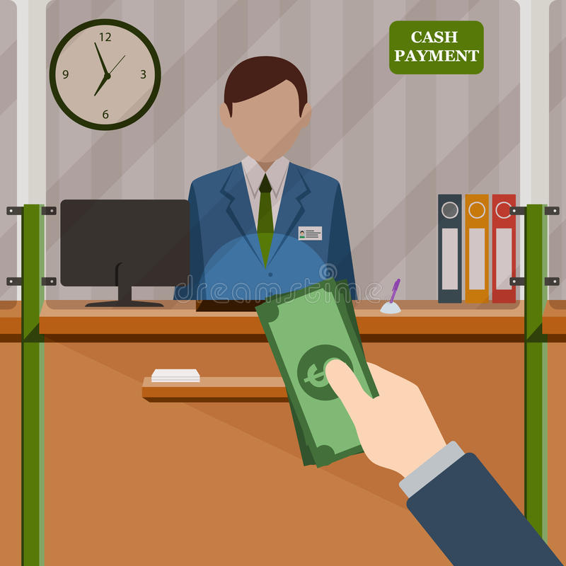 Bank teller behind window. Hand with cash. Depositing money in bank account. Signboard Cash Payment. People service and payment. Vector illustration in flat stock illustration