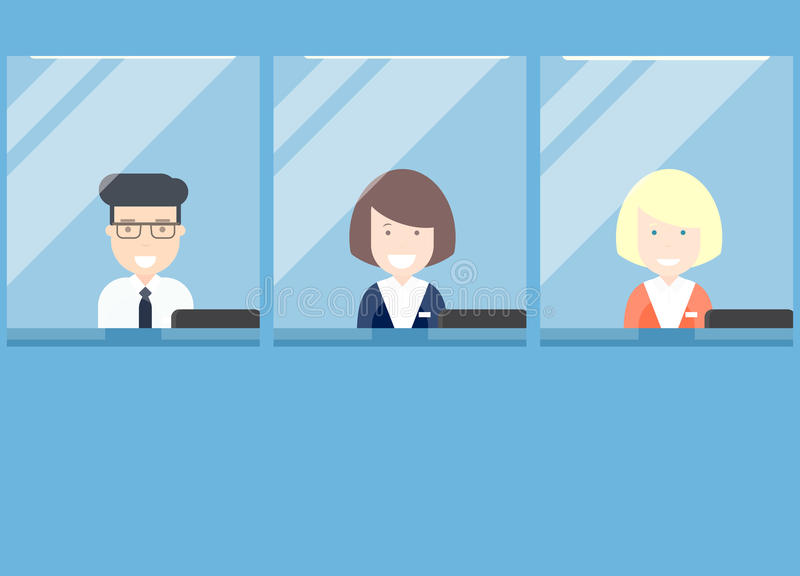 Bank teller counter. Cashiers behind the window vector illustration