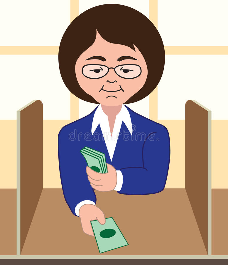 Bank Teller. Female bank teller conducting cash transaction royalty free illustration