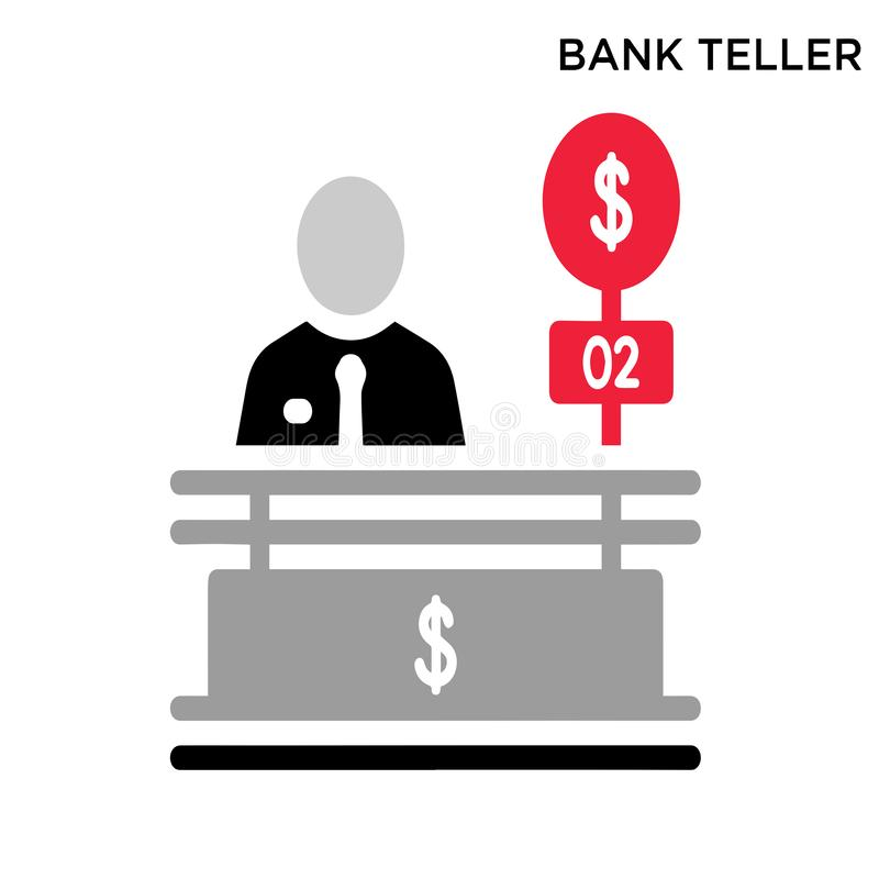 Bank teller icon. White background simple element illustration business concept stock illustration