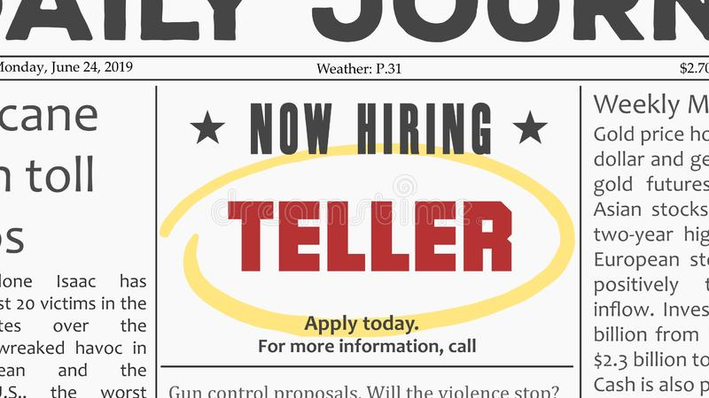 Bank teller job. Bank teller - job offer. Newspaper classified ad career opportunity royalty free illustration