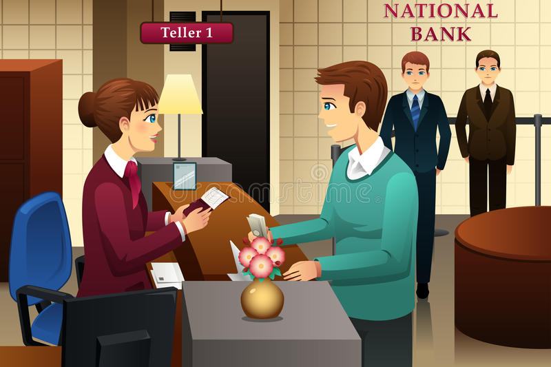 Bank teller servicing a customer in the bank. A vector illustration of bank teller servicing a customer in the bank royalty free illustration
