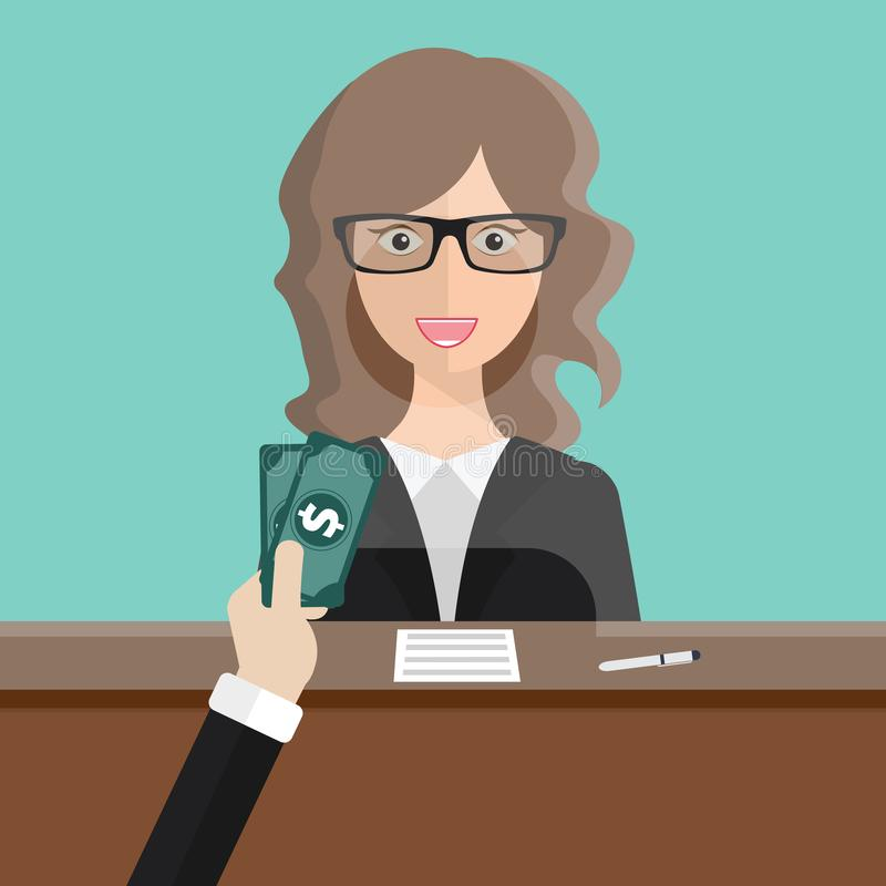 Bank teller sitting behind glass. Man clerk in a bank office receiving money. Flat vector. Illustration vector illustration