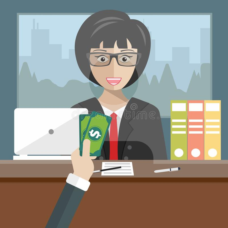 Bank teller sitting behind glass. Woman clerk in a bank office receiving money. Flat vector. Illustration stock illustration