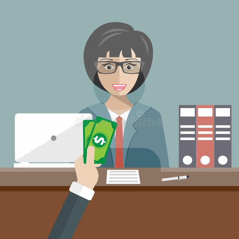 Bank teller sitting behind glass. Woman clerk in a bank office receiving money. Flat vector. Illustration royalty free illustration