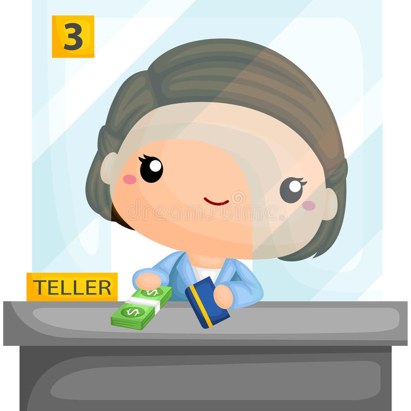 Bank Teller. A vector of bank teller stock illustration