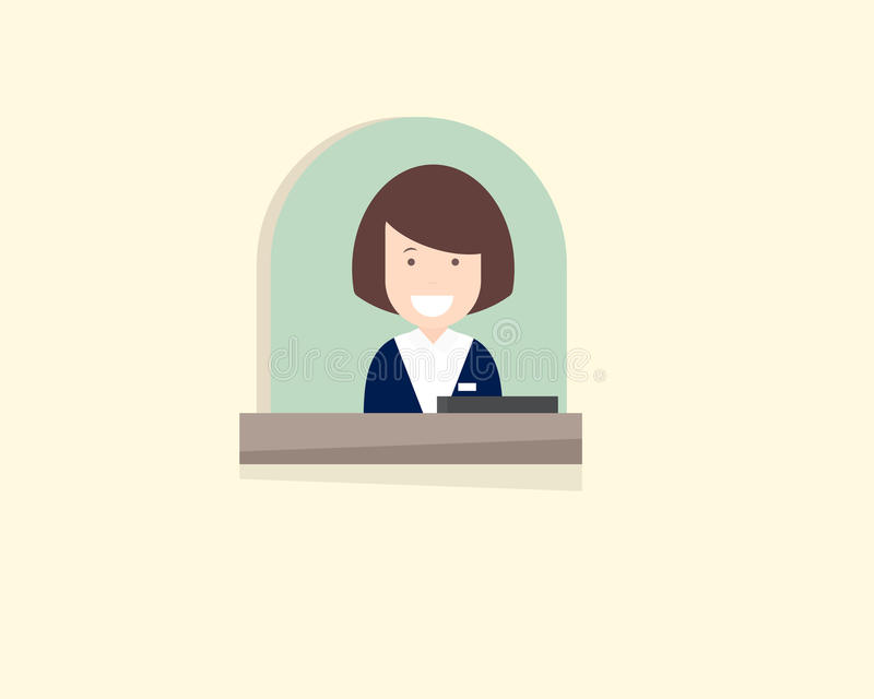 Bank teller window. With clerk royalty free illustration