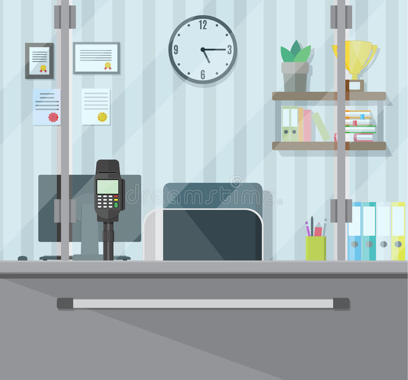 Bank teller workplace. Books, cup, plant, clocks, computer and keypad terminal. People service and payment. Vector illustration in flat style vector illustration