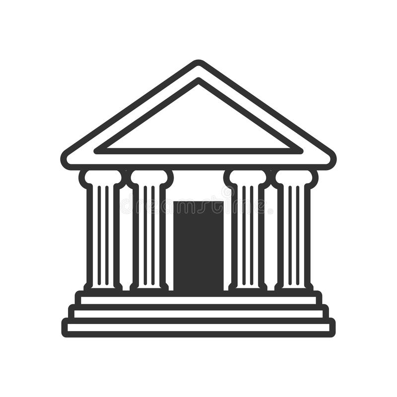 Bank or Temple with Columns Outline Icon. Bank building or classic greek temple outline flat icon, isolated on white background. Eps file available vector illustration