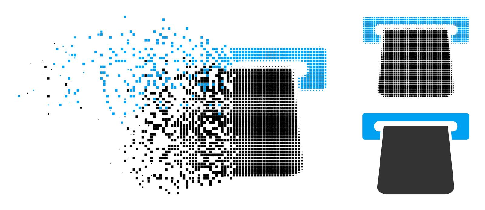 Disintegrating Dot Halftone Bank Terminal Icon. Bank terminal icon in fragmented, pixelated halftone and solid variants. Cells are composed into vector vector illustration