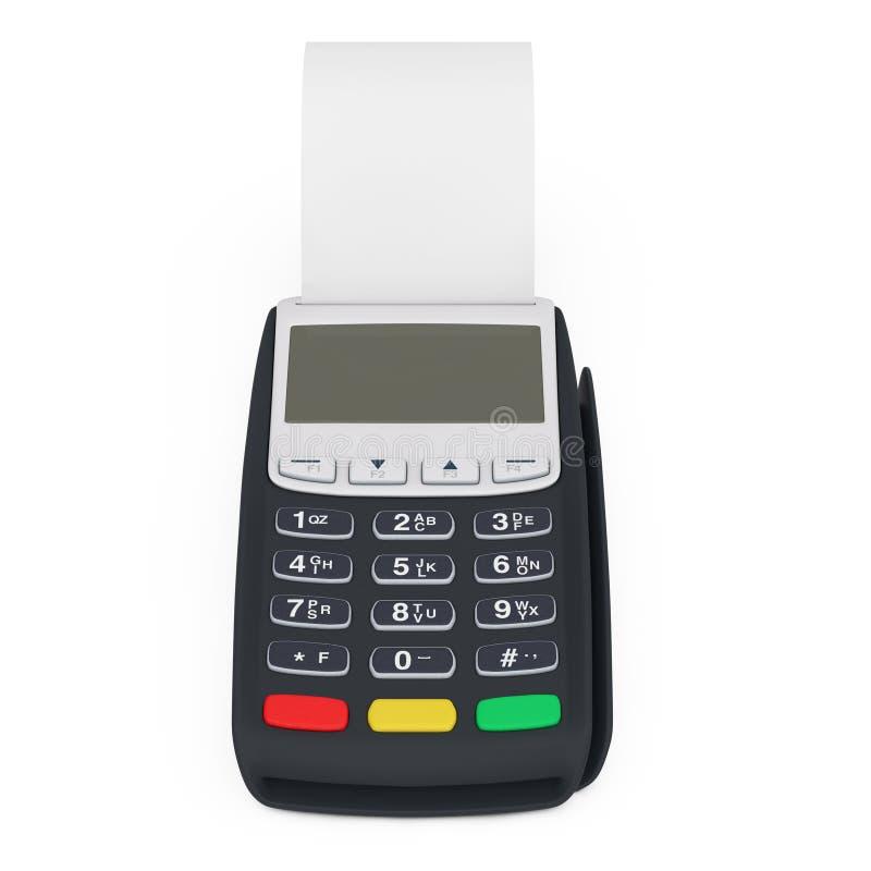 Bank-Terminalregistrierkasse Positions-Maschine für Zahlung mit leerem gerolltem Cach-Band Wiedergabe 3d lizenzfreie stockfotografie
