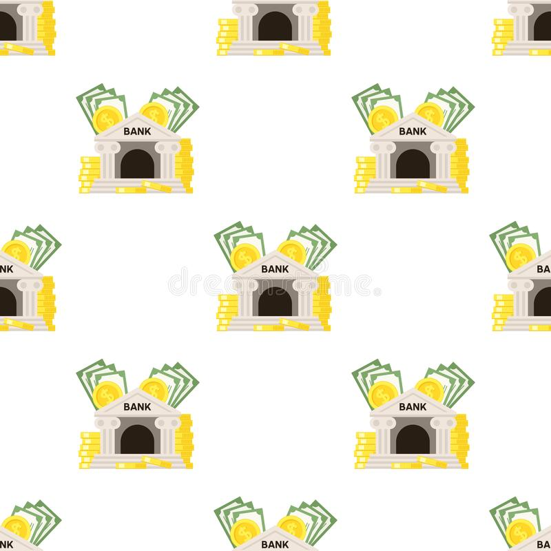 Bank-und Geld-Ikonen-nahtloses Muster vektor abbildung