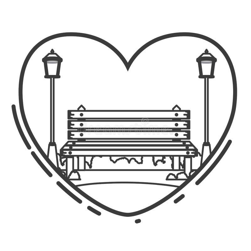 Bank und Lampen des Parkdesigns vektor abbildung