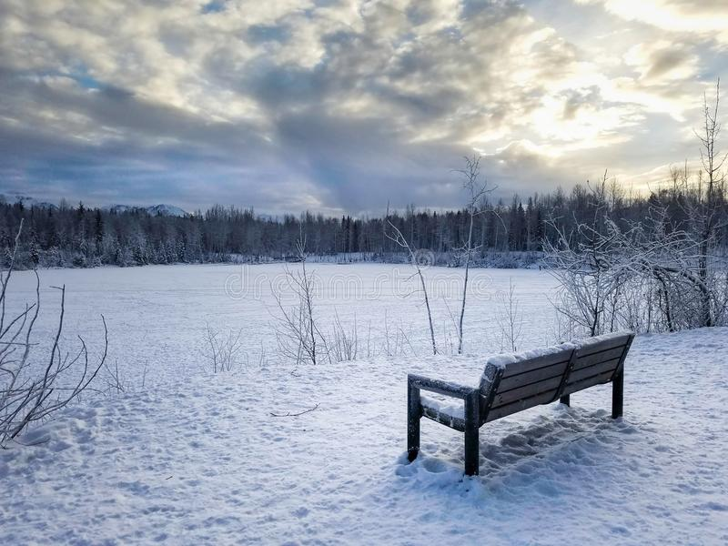 Bank-Universitysee-Anchorage-Alaska-Winter stockbilder