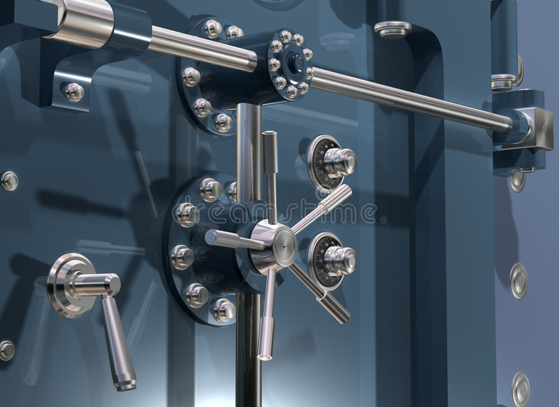 Bank Vault Close up. Illustration of a secure bank vault up close