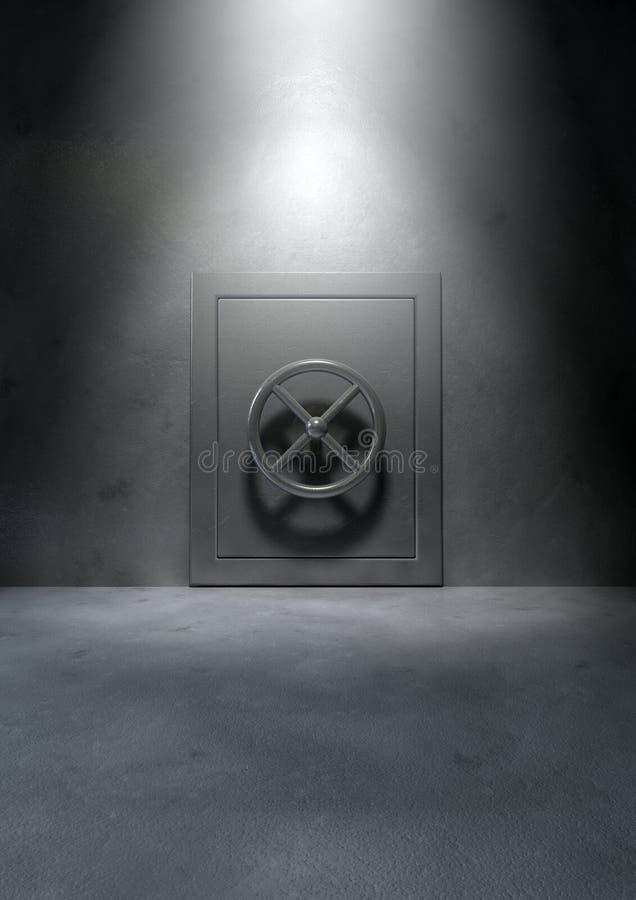 Bank Vault Concrete Room. The metallic bank vault door in an isolated concrete room royalty free stock image